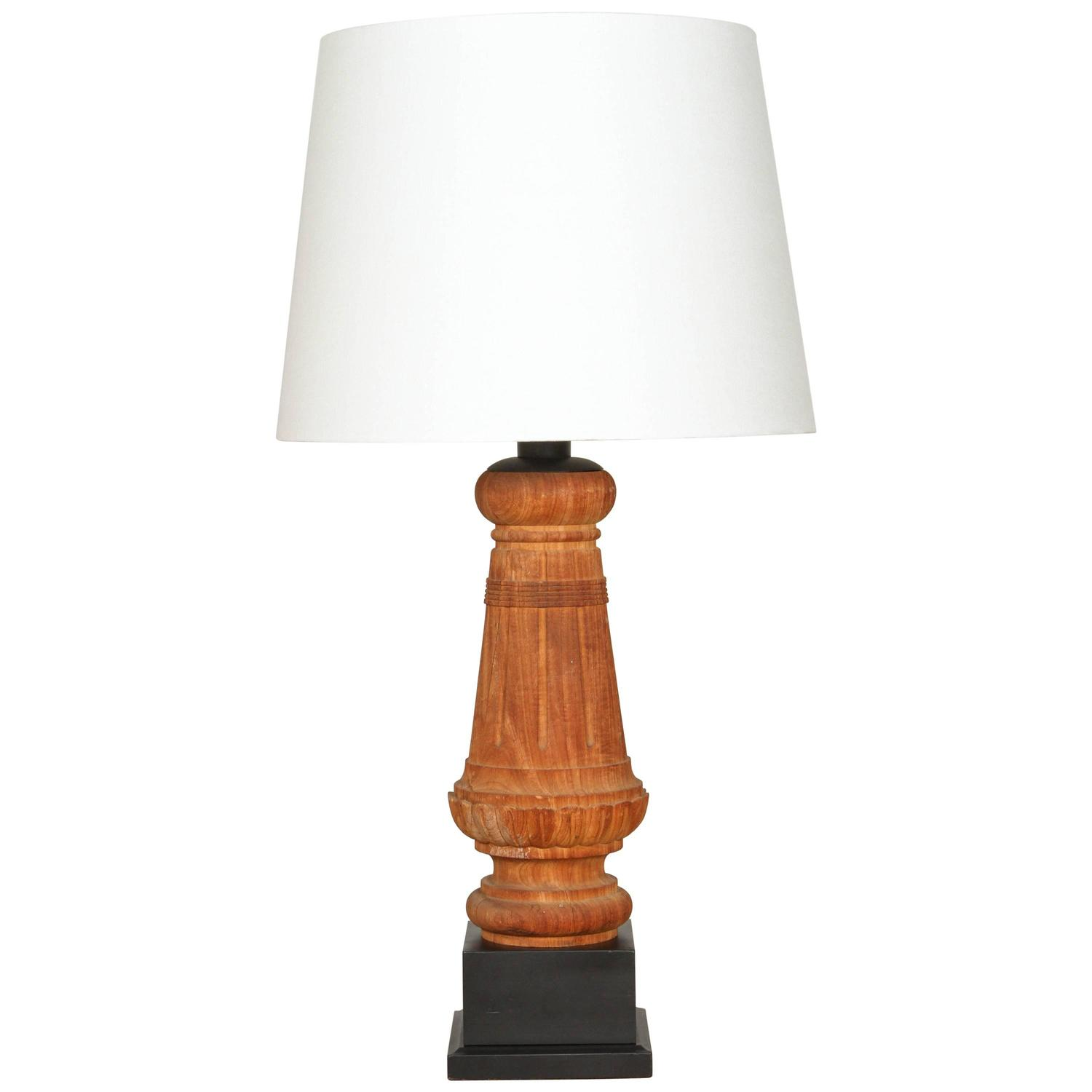 wood artifact table lamp with custom linen shade at 1stdibs. Black Bedroom Furniture Sets. Home Design Ideas