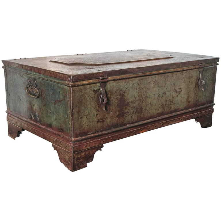 British Colonial Industrial Storage Box As Coffee Table At 1stdibs