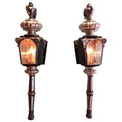 Pair Of Continental Mirrored Sconces With Candelabra Arms
