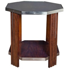 French Art Deco Octagonal Walnut Side Table with Nickeled Bronze Mounts