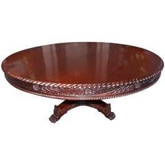 Caribbean Kingswood Gadrooned Circular Pedestal Table, Circa 1830