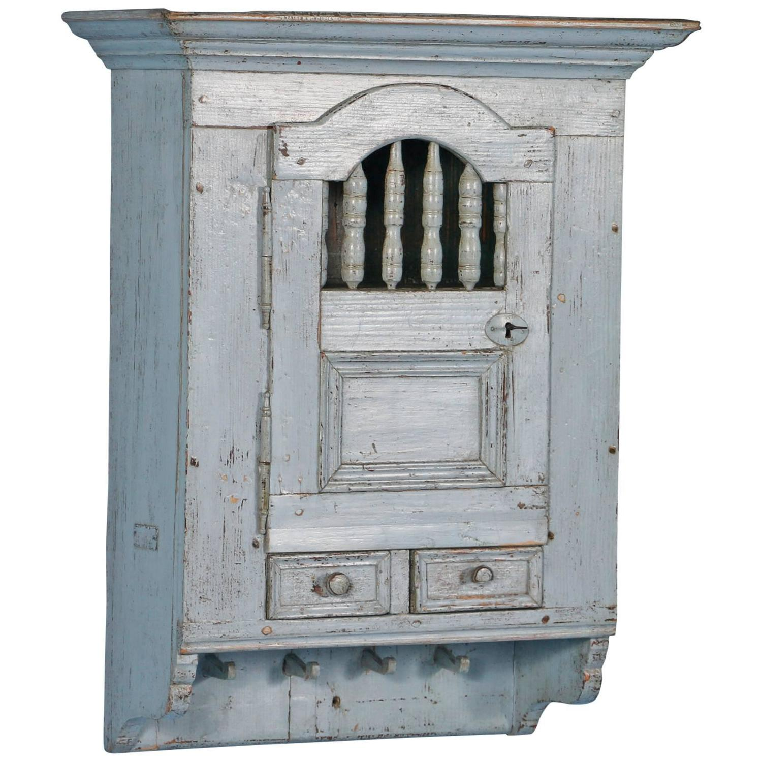 Antique Blue Swedish Hanging Wall Cabinet, Circa 1880 At