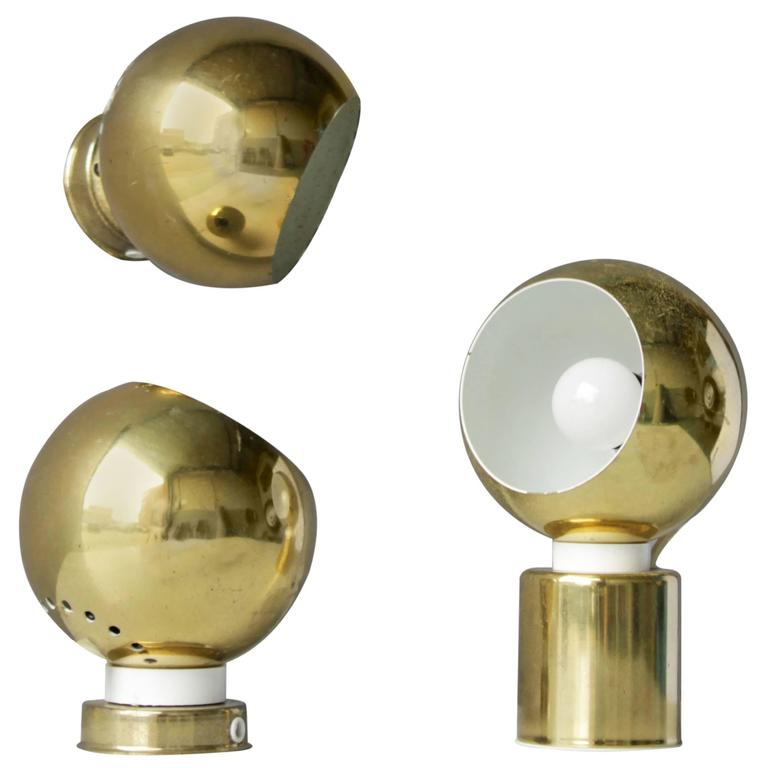 Three Magnetic Brass Ball Lights by Reggiani