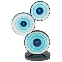 Spectacular Murano Signed Disc Sculpture by Romano Dona