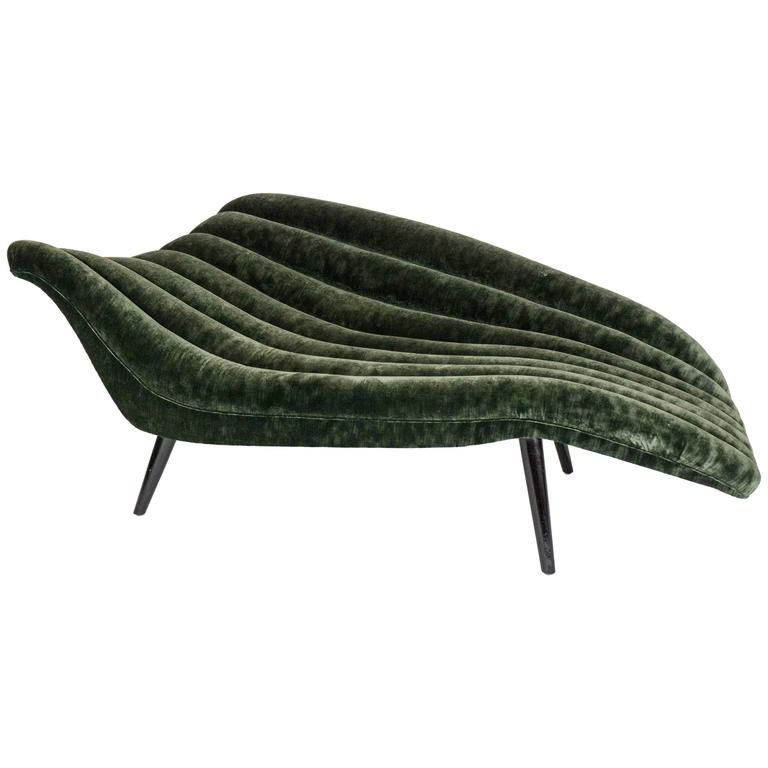 Elegant Midcentury Style Chaise Longue by Lost City Arts