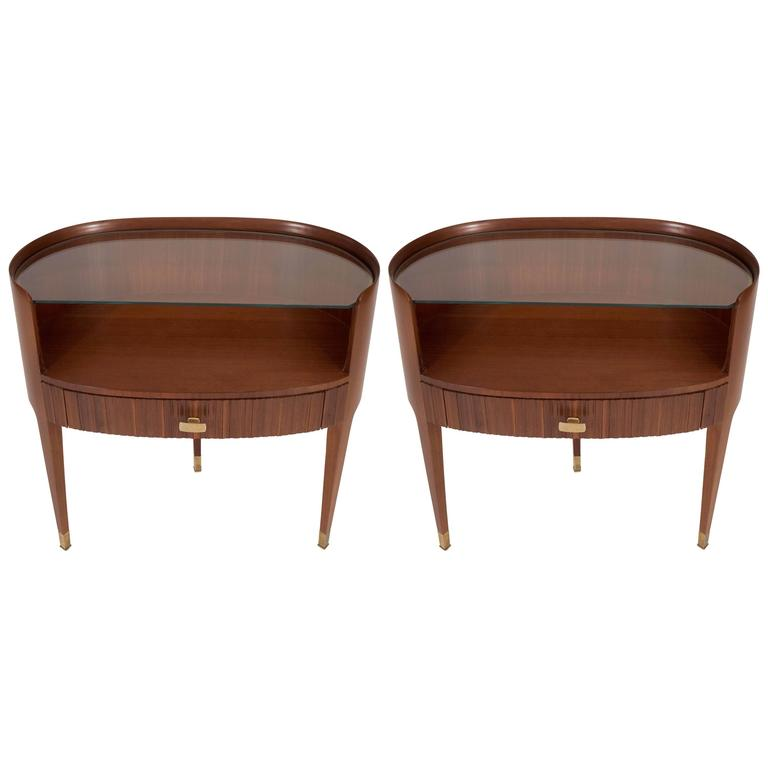 Mahogany and Rosewood Paola Buffa Bedside Tables, Italy, 1950s 1