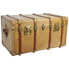 "Antique ""Au Depart"" Vellum Steamer Trunk, circa 1890"