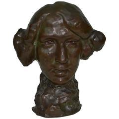 1920s German Bronze Bust