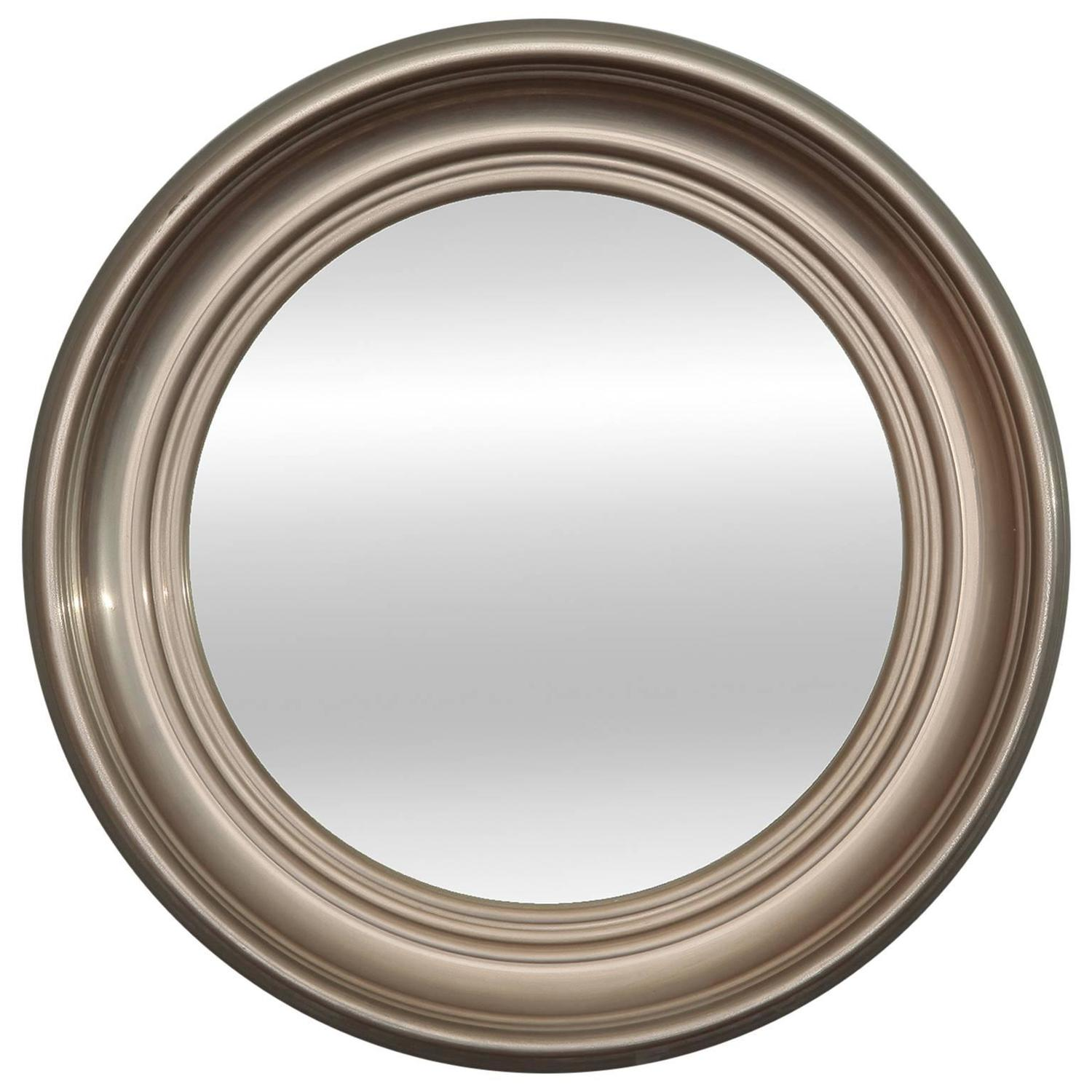 Round art deco silver metal mirror at 1stdibs for Round silver wall mirror