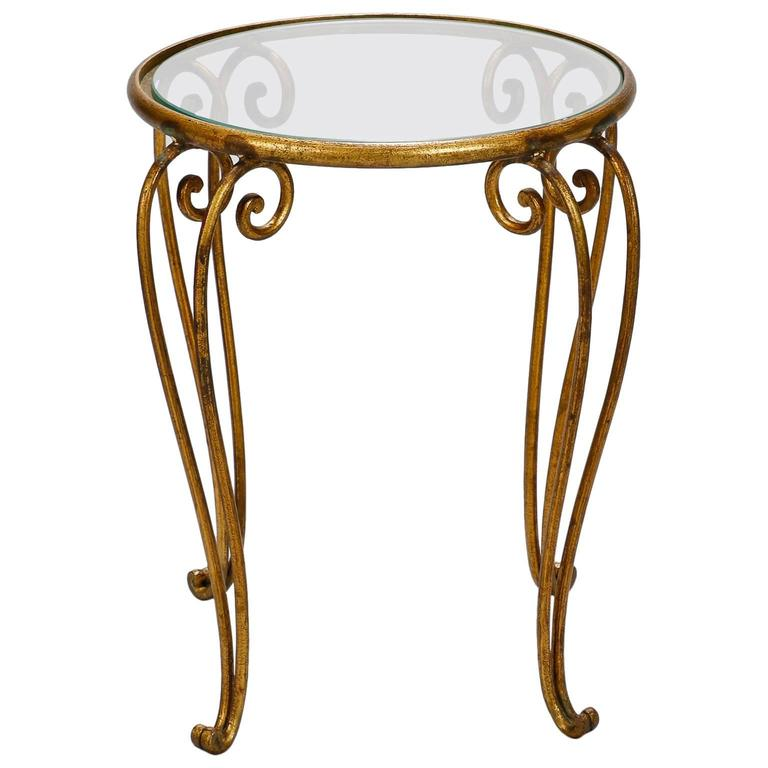 Midcentury Small Round Glass Top Iron Side Table For Sale