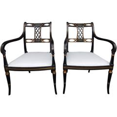 Pair of English Regency Faux Painted and Gilt Armchairs, Circa 1820