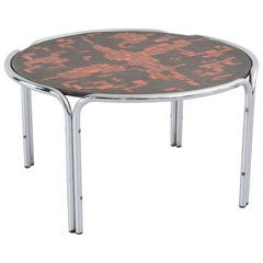Mid-Century Mosaic and Chromed Steel Cocktail Table