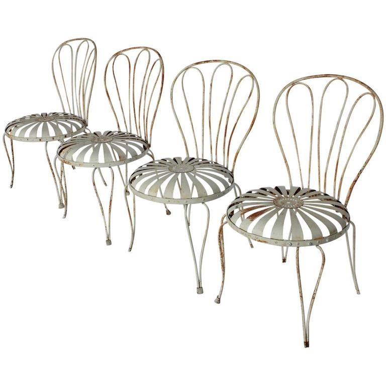 1930s french sunburst garden chairs by francois carre for sale at 1stdibs French metal garden furniture
