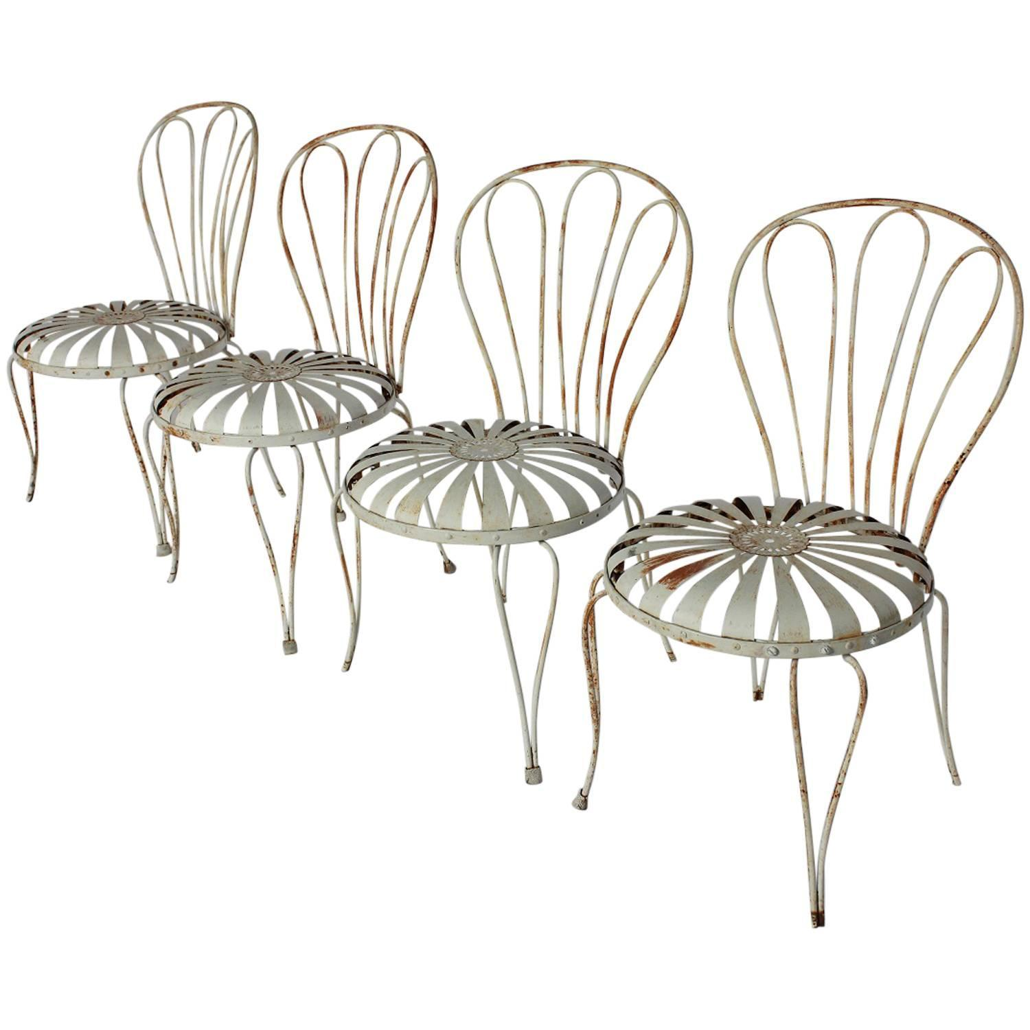 1930s french sunburst garden chairs by francois carre for sale at 1stdibs Vintage metal garden furniture