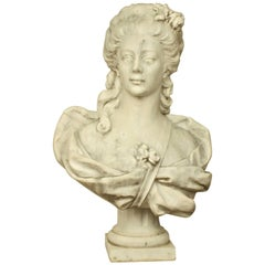 18th or 19th Century White Marble Bust of a Young Woman
