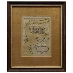 """Rare Charleston, South Carolina Engraved Map """"Town & Harbor,"""" Circa 1700"""