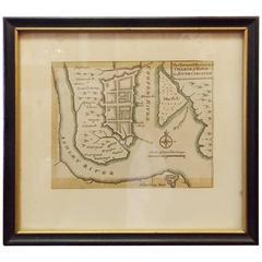 """Rare Charleston, South Carolina Engraved Map """"Town and Harbor,"""" Circa 1747"""