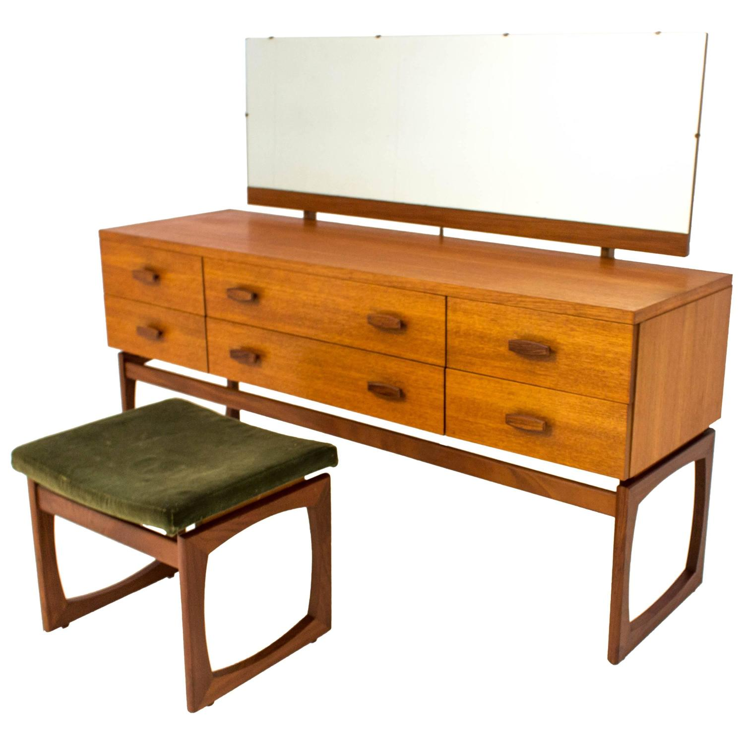 Rare g plan quadrille long dressing table with matching for Dressing table long