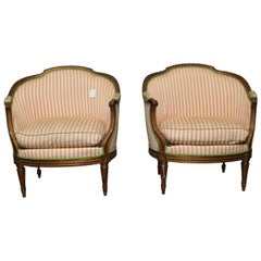 Pair of French Louis XVI Style Marquises with a Gold Leaf Finish
