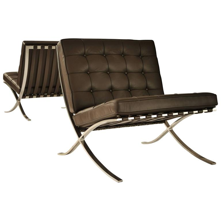 mies van der rohe pair of barcelona chairs for sale at 1stdibs. Black Bedroom Furniture Sets. Home Design Ideas