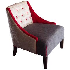 Mid-Century Lounge Chair in Hollywood Regency Style