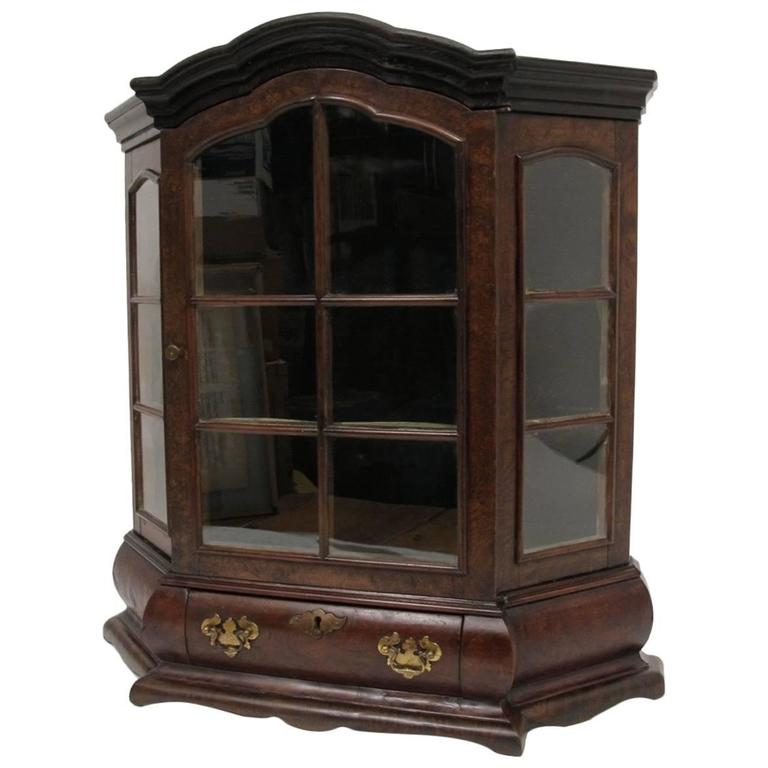 19th Century Dutch Miniature Walnut Cabinet Vitrine
