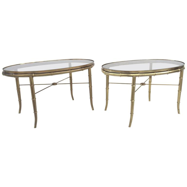 Pair of Aged Brass Faux Bamboo Occasional Tables by Mastercraft.