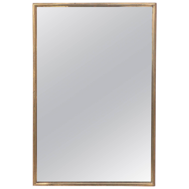 Heavy brass rectangular italian mirror at 1stdibs for Rectangle mirror