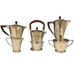International Sterling Silver Tea 6-Piece Set Teak Handles Modernism SKU 0482