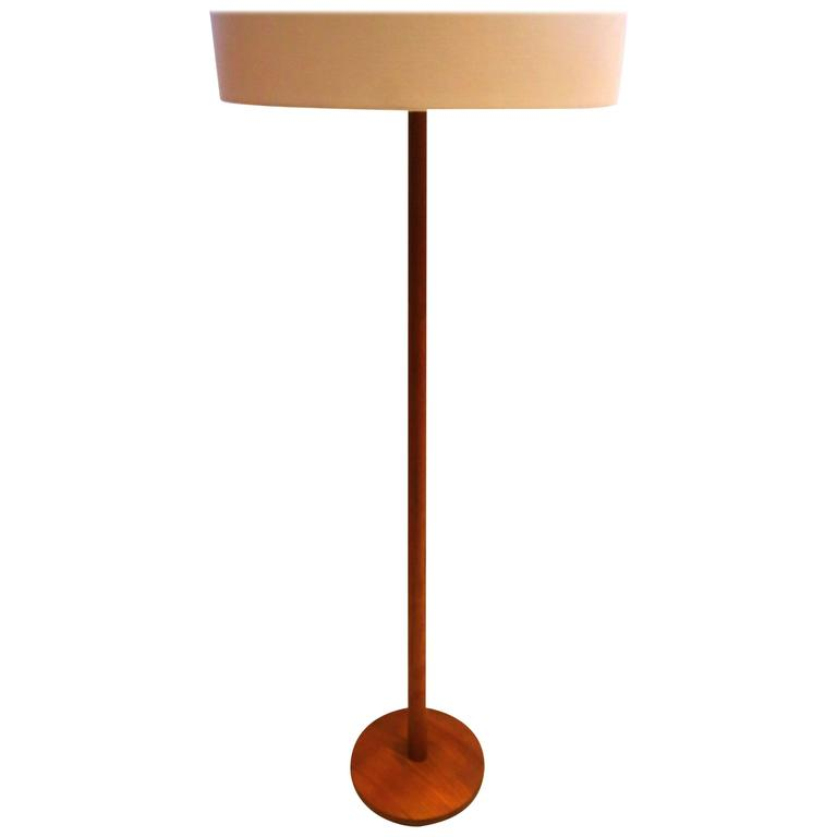 Elegant Danish Modern Solid Teak Tall Floor Lamp Circa