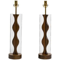 Pair of Sculptural Walnut and Lucite Table Lamps