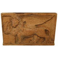 Early 19th Century Venetian Stone Plaque of the Lion of San Marcos