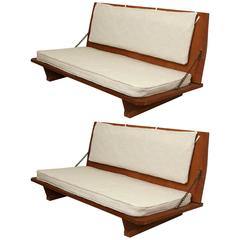 """Pair of """"Unitarian"""" Benches by Frank Lloyd Wright, USA 1951"""