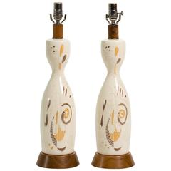 Pair of Abstract Painted Ceramic Table Lamps