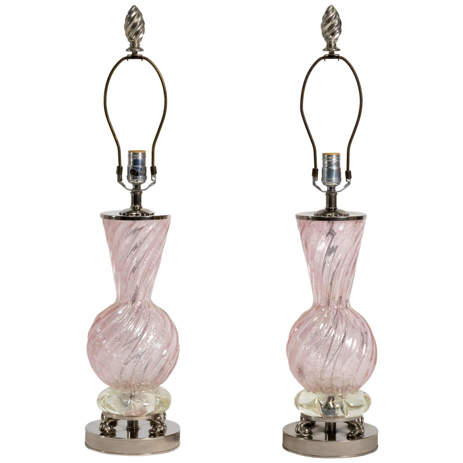 pair of pink murano glass table lamps at 1stdibs. Black Bedroom Furniture Sets. Home Design Ideas