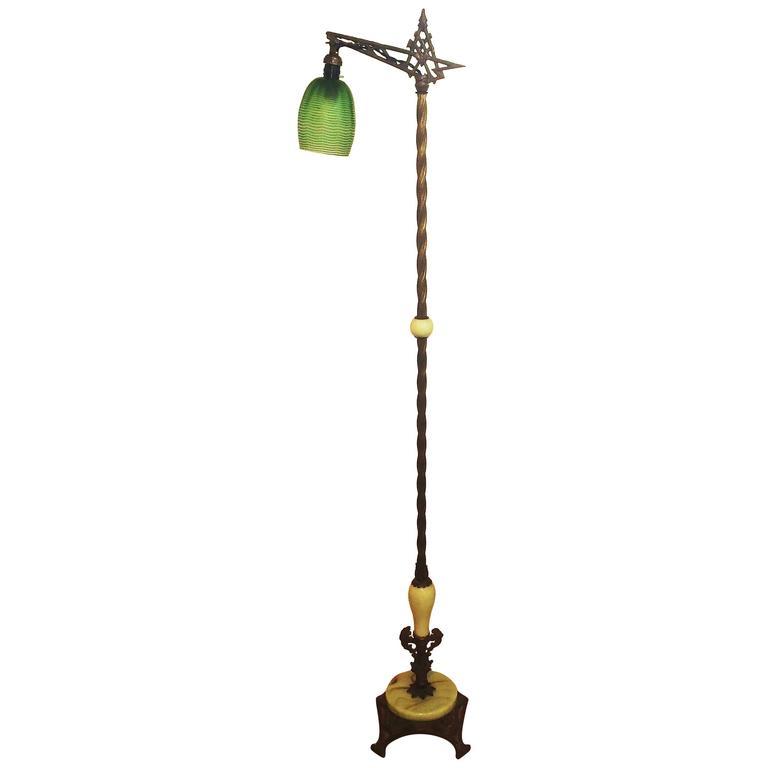 Art Nouveau American Bridge Floor Lamp With Jadeite Glass