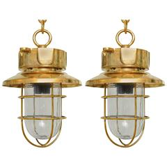 Pair of Brass Passageway Lights from Mid-Century Ship