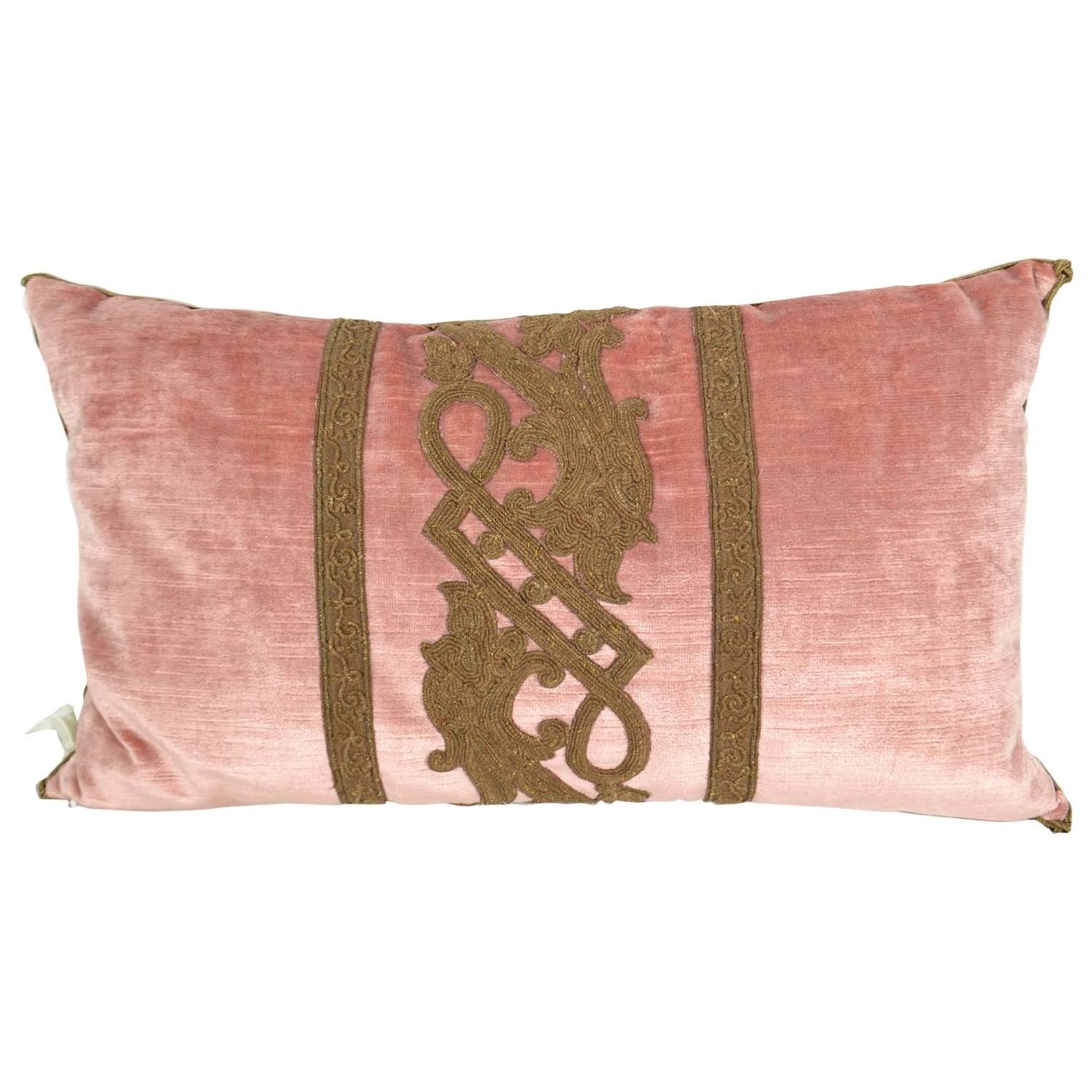 Pillow with Decorative Fabric and Antique Trim at 1stdibs