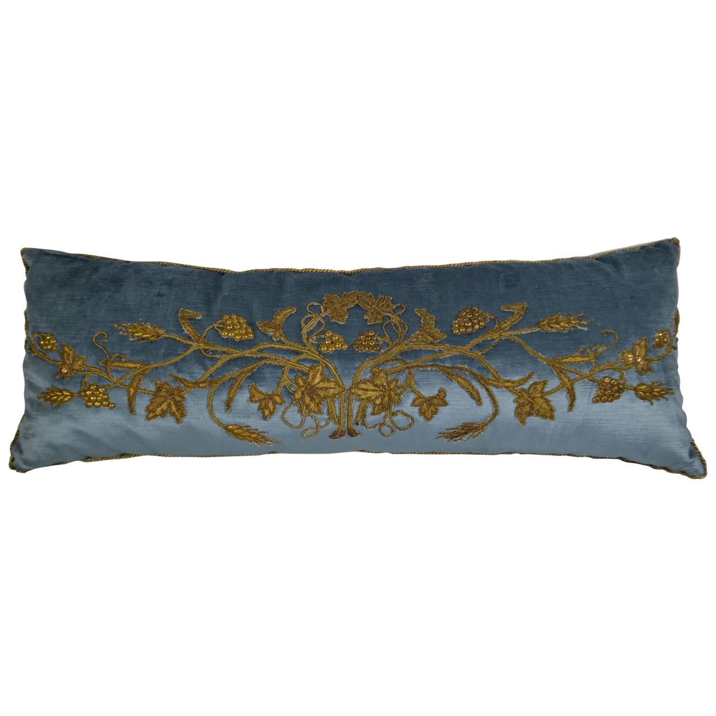 Antique Gold Decorative Pillows : Antique Gold Metallic Applique Pillow at 1stdibs