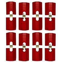 Set of Nine Red and White Perforated Metal Sconces, France, 1950s