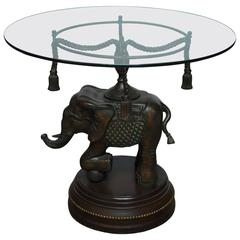 Bronze Elephant Pedestal Side Table