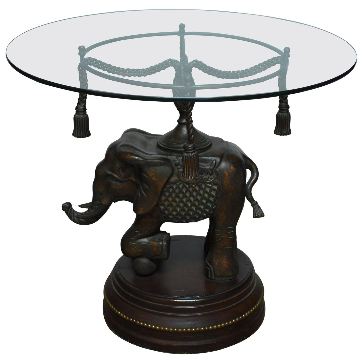 Merveilleux Bronze Elephant Pedestal Side Table For Sale At 1stdibs