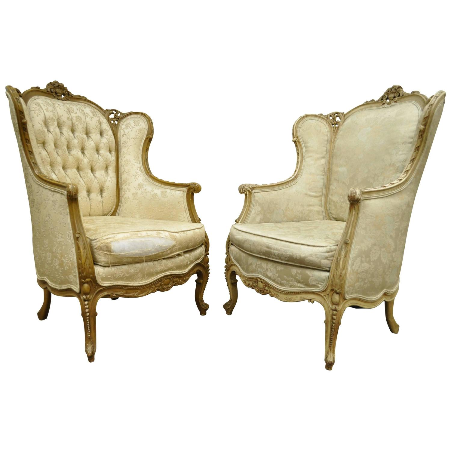 Pair of 1930 s French Louis XV Style Carved Wingback Bergere