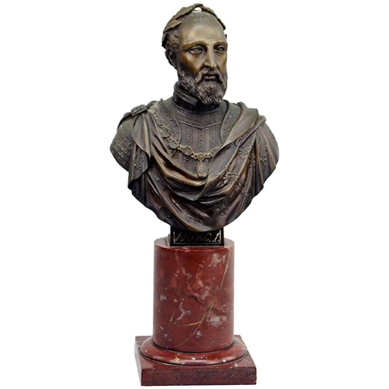 19th Century Bronze and Marble Neoclassical Bust