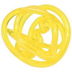 Italian Murano Cenedese Glass Twisted Circular Knot Sculpture