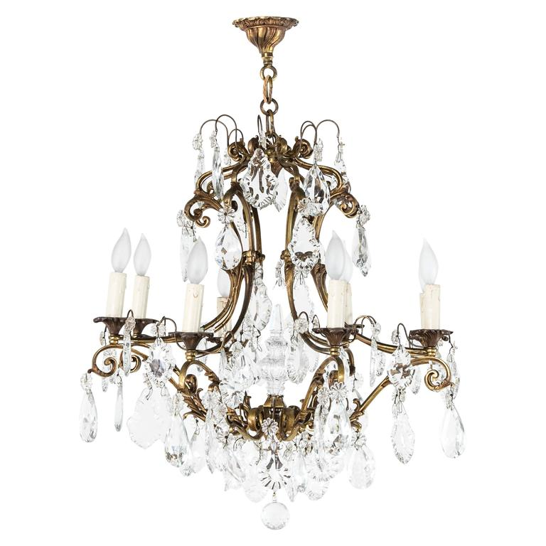 Large Mid-Century French Crystal and Bronze Chandelier with Eight Lights