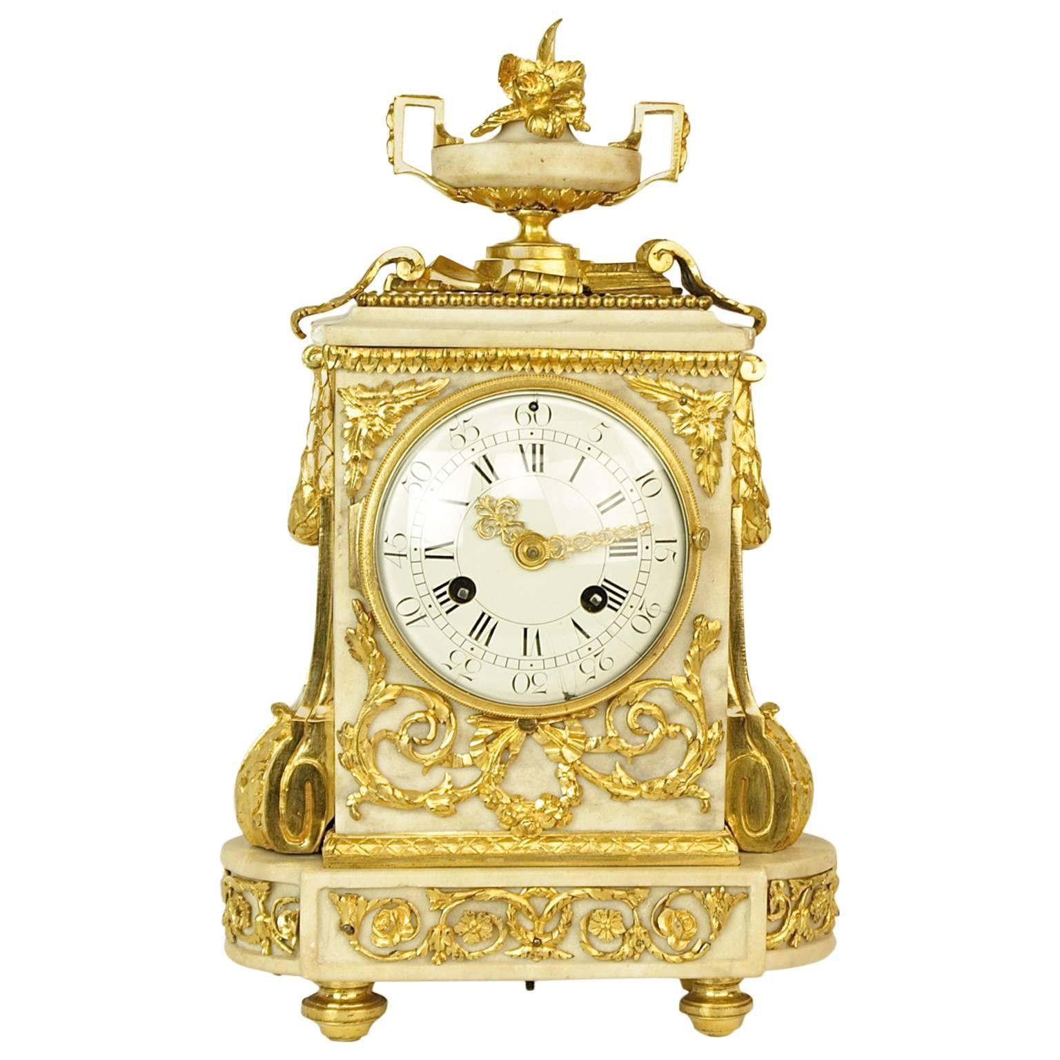 An 18th Century Louis XVI Gilt-Bronze and White Marble Mantel Clock, circa 1780