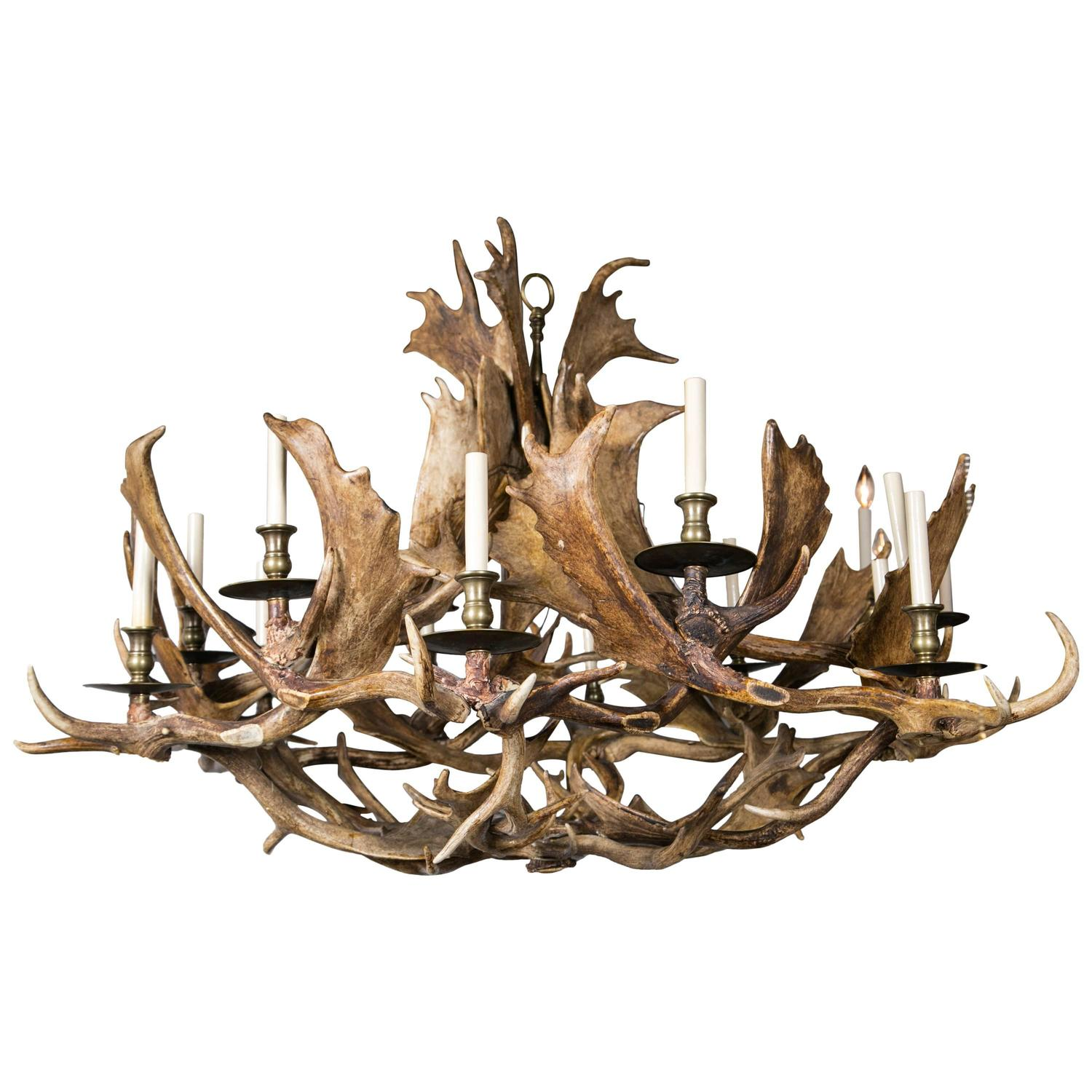 Fantastic Twelve Light Caribou Antler Chandelier For Sale at 1stdibs