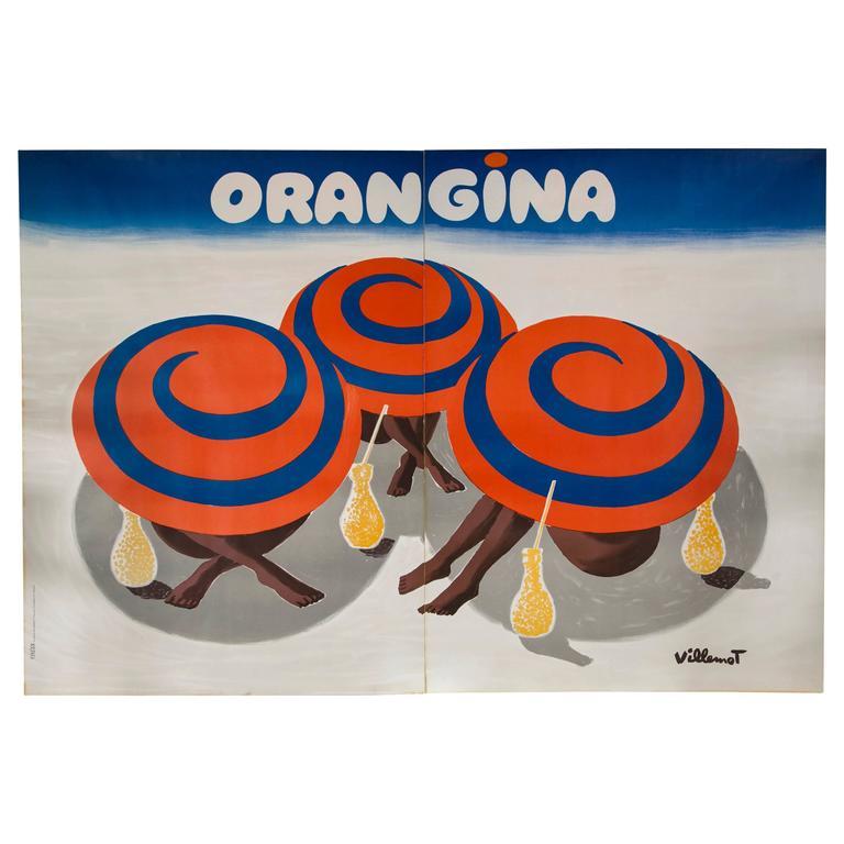 Vintage Orangina Advertisement Poster By Bernard Villemot