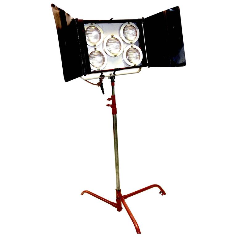 Studio Lighting For Sale: Hollywood Studio Lamp On Stand As Sculpture. Mid-Century